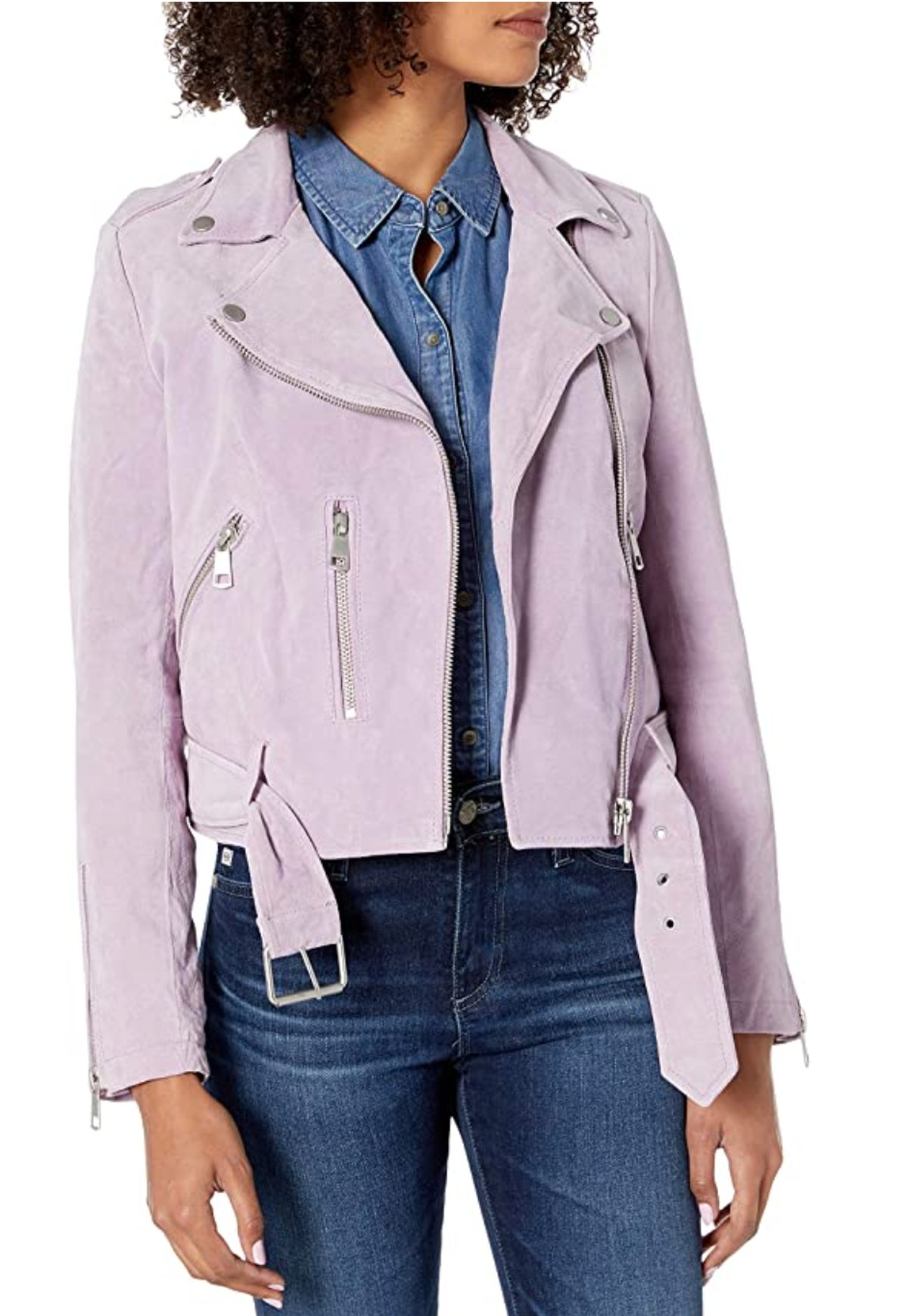 Bagatelle Lilac Suede Biker Jacket