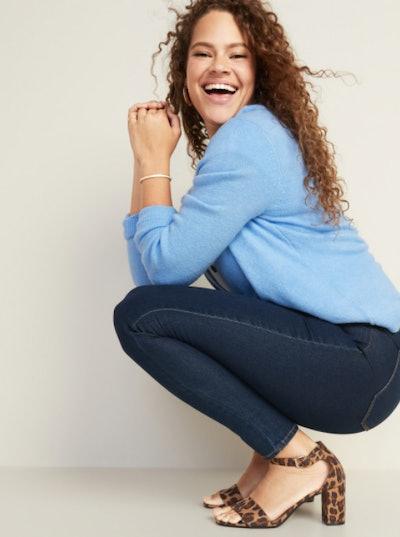 Mid-Rise Dark-Wash Super Skinny Jeans for Women