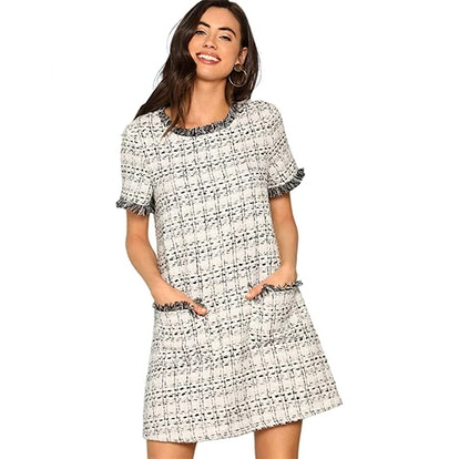Floerns Tweed Short Sleeve Tunic Dress With Pockets