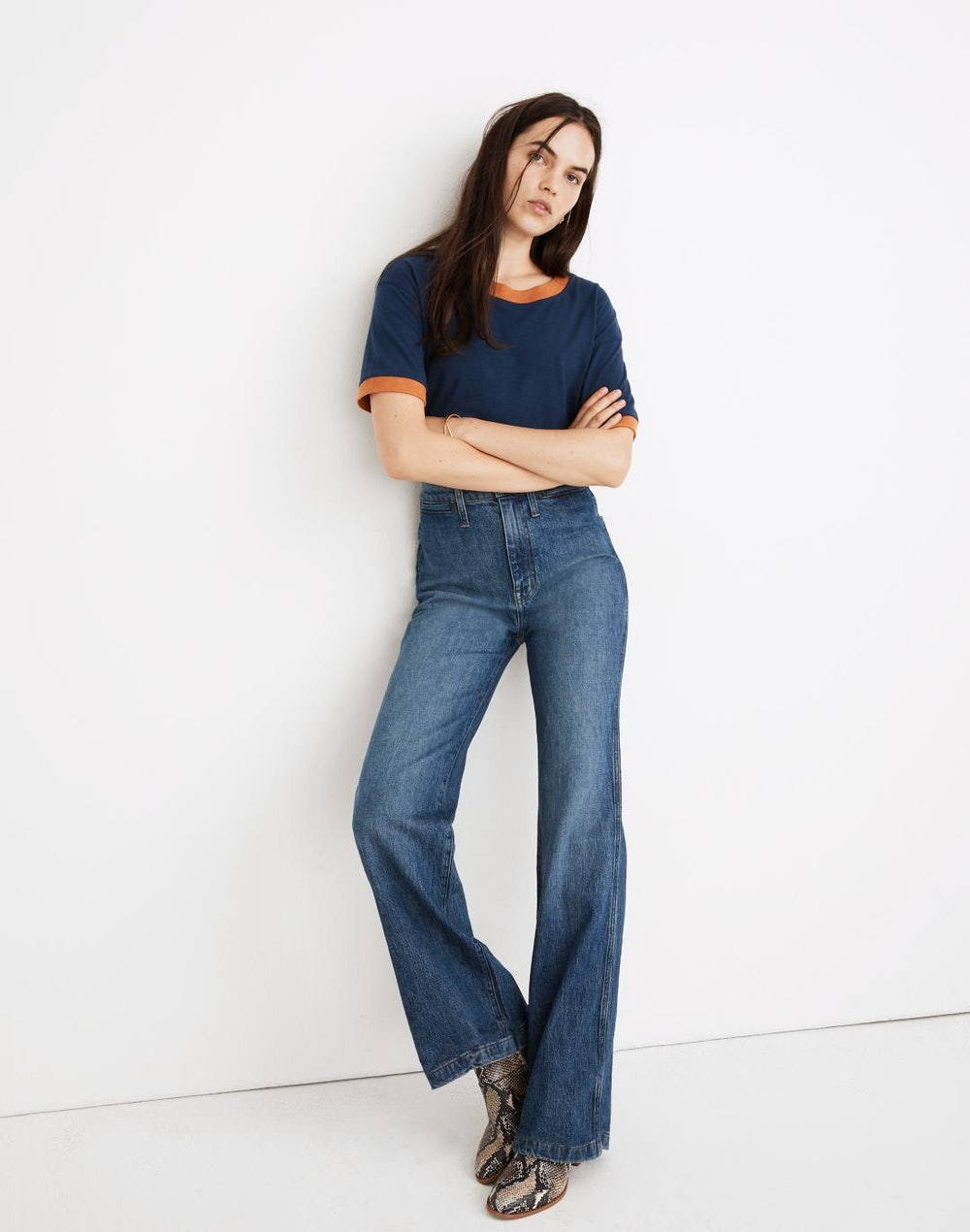 High-Rise Flare Jeans in Mersey Wash: Welt Pocket Edition