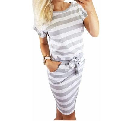 PALINDA Striped Dress with Belt