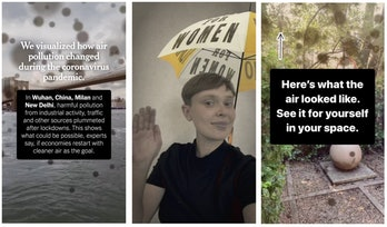 Three side by side screenshots of New York Times and Facebook's augmented reality series, depicting women's suffrage movement, air quality in Wuhan, and a demonstration in the third clip.