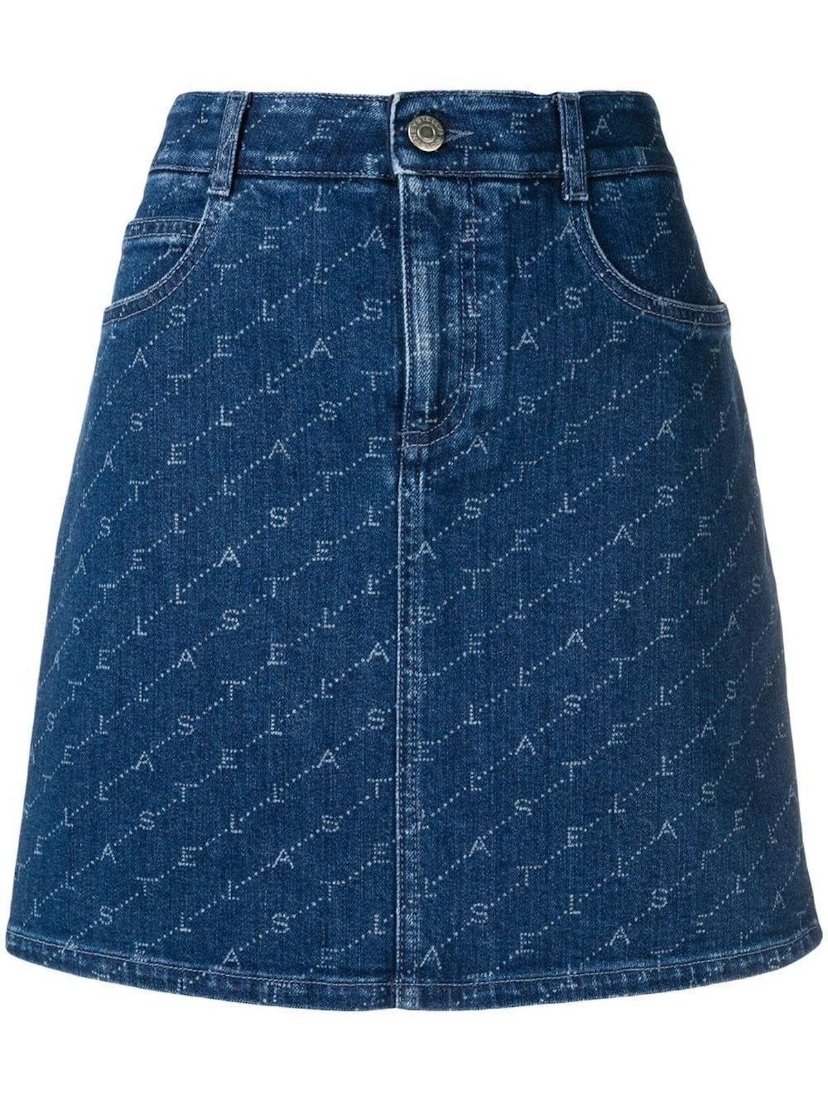 Blue Logo Print Denim Skirt
