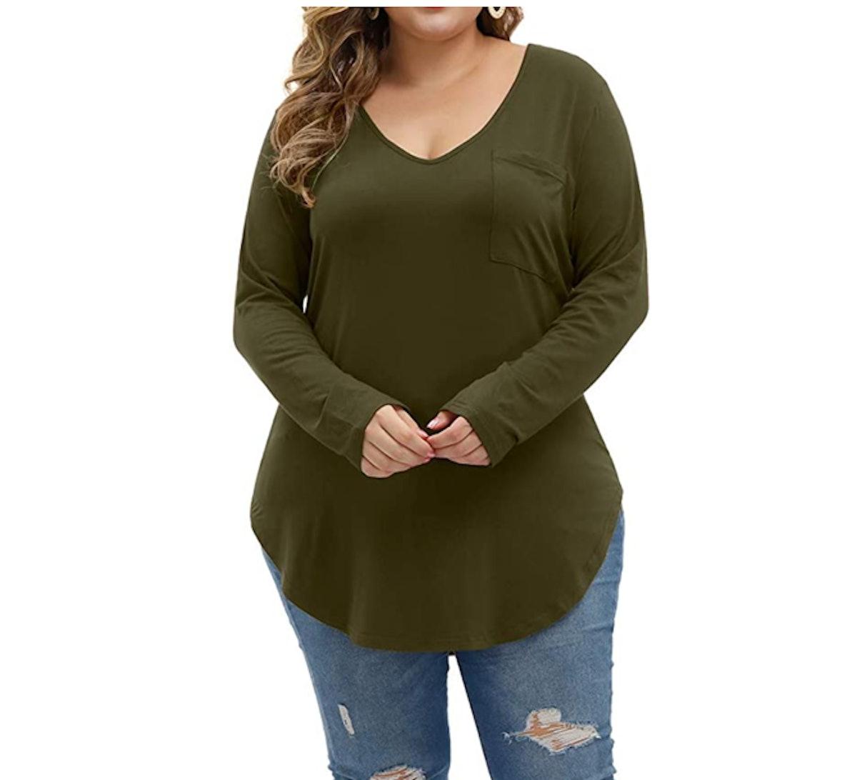 Allegrace Plus Size Long Sleeve Top