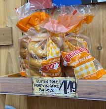 A few spare bags of gluten free pumpkin bagels.