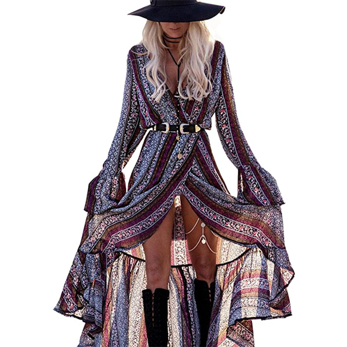 R.Vivimos Long Sleeve Maxi Dress