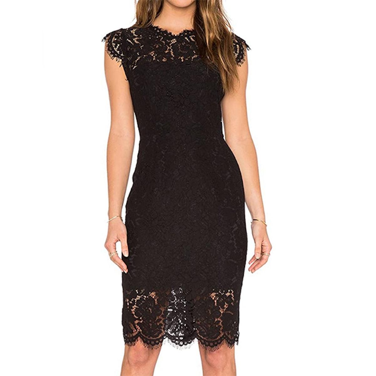 MEROKEETY Sleeveless Lace Knee Length Dress