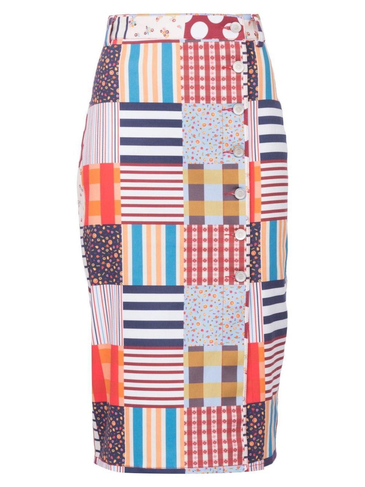 Multi Glaye Pencil Skirt