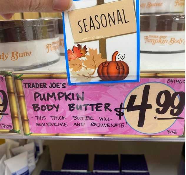 An image of a price tag for pumpkin body butters reading $5.