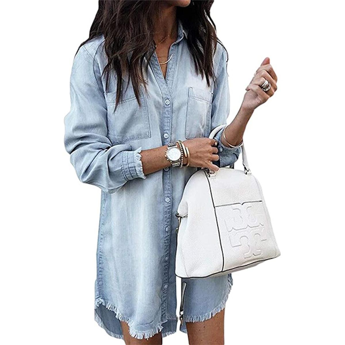 Zilcrema Long Sleeve Denim Shirt Dress