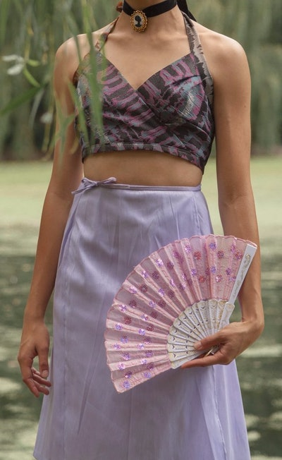 LAVENDER SILK WRAP SKIRT