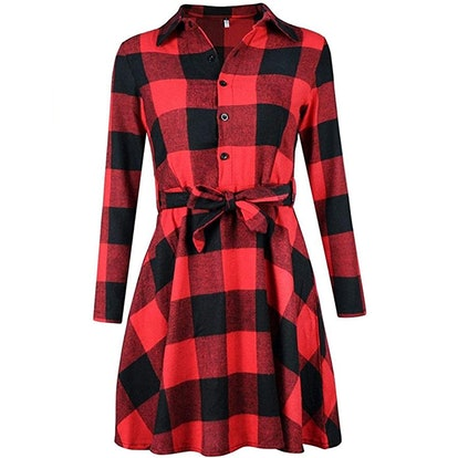 FANCYINN Long Sleeve Plaid Dress