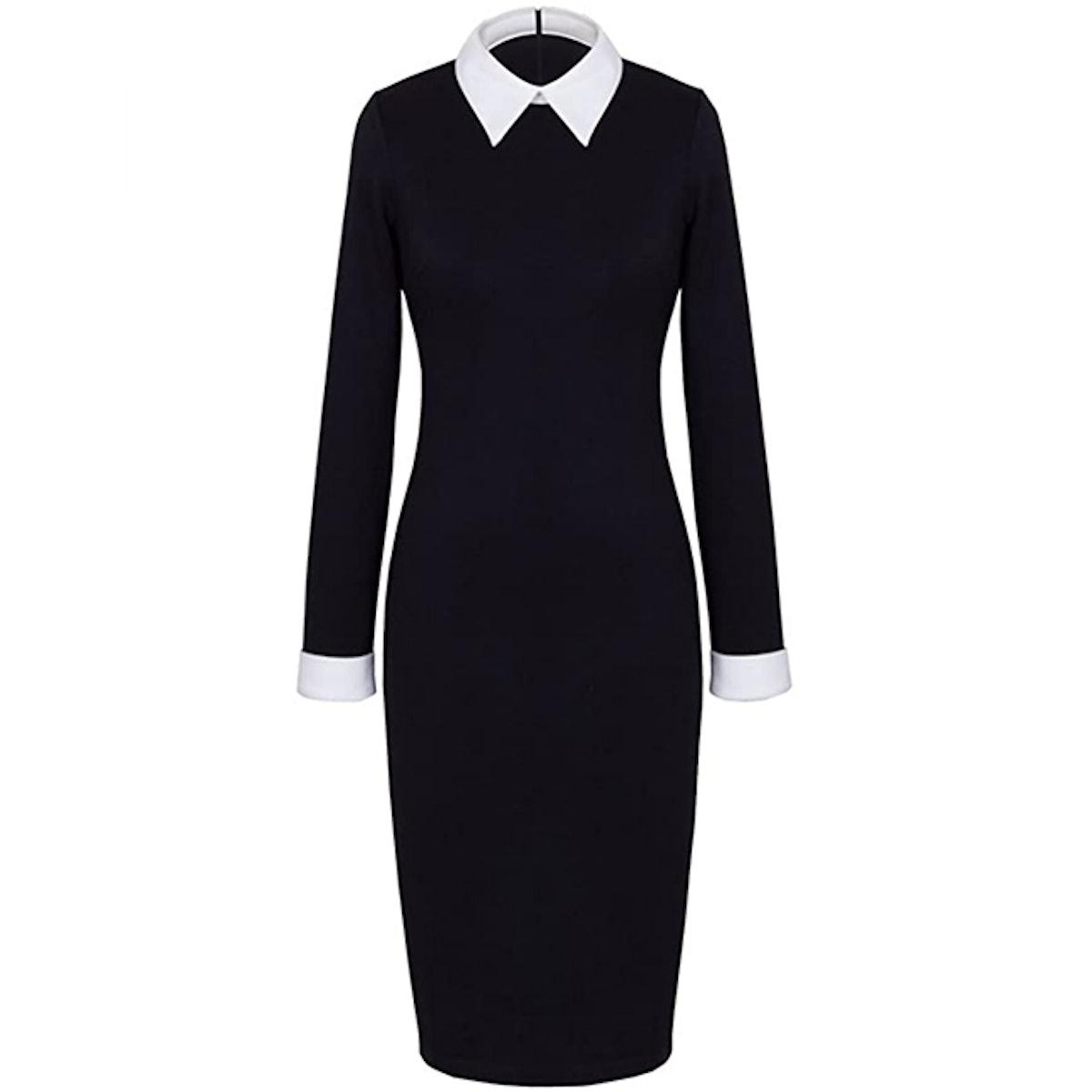 HOMEYEE Turn Down Collar Dress