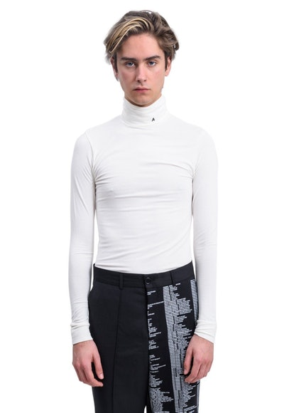 White Logo Turtleneck Sweater