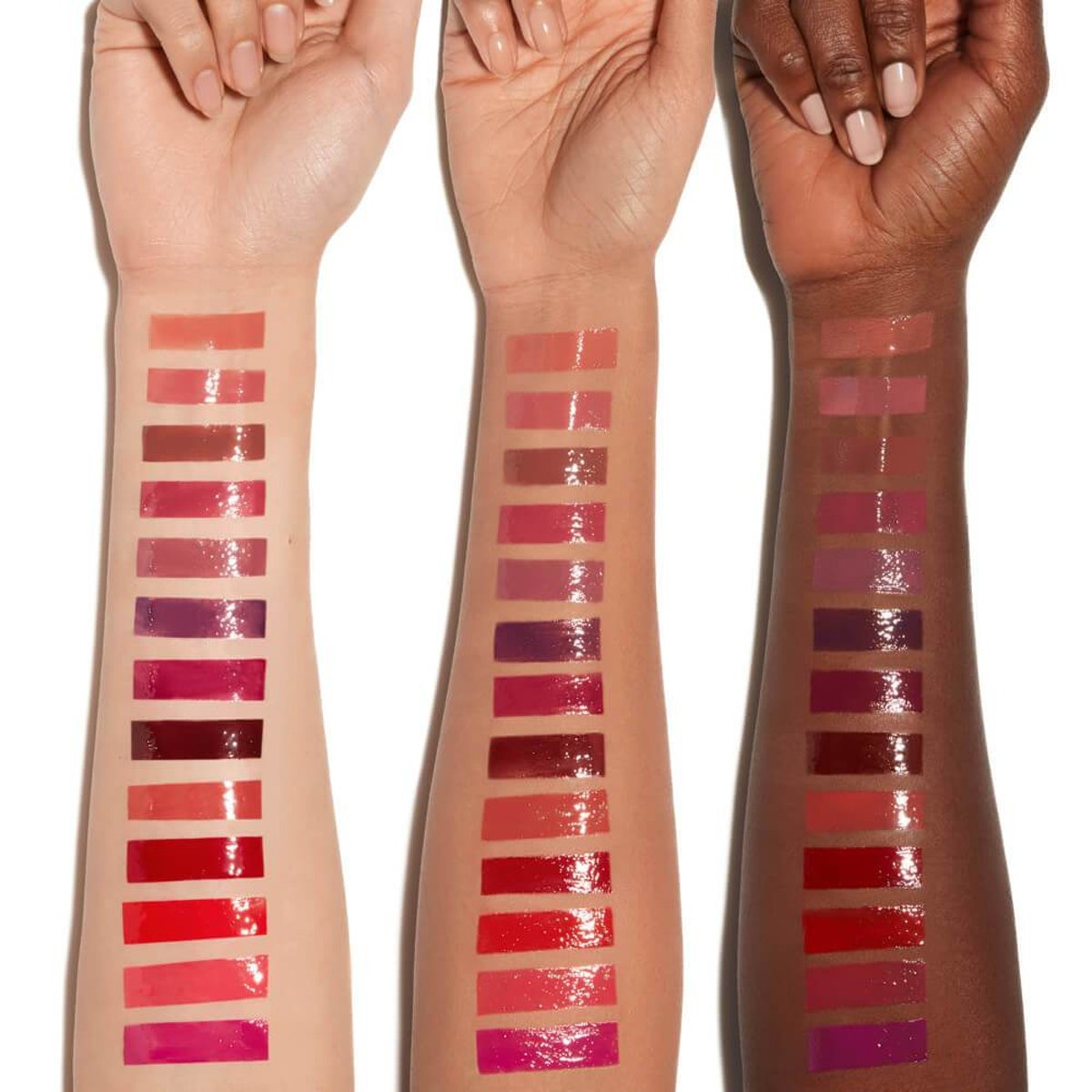 Deck Of Scarlet Threeway Solid Lip Oil Review: All 13 shades swatches on models' skin.