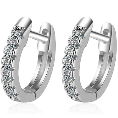925 Sterling Silver Cubic Zirconia Cuff Hoop Huggie Stud Earrings