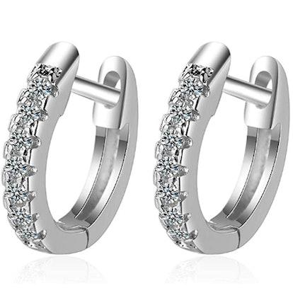 925 Sterling Silver Cubic Zirconia Cuff Hoop Huggie Stud Earrings