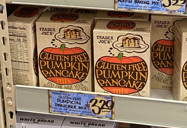An image of boxes of gluten free pancake mix in pumpkin flavor.