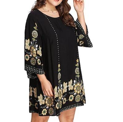 Romwe Women's Plus Size Boho Beach Dress