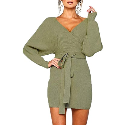 Mansy Batwing Mock Wrap Sweater Dress