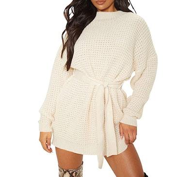 ZESICA Waffle Knitted Sweater Dress