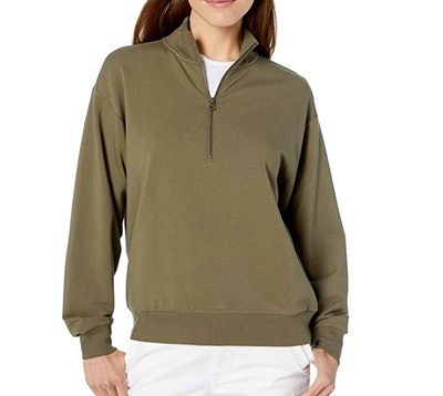 Daily Ritual Terry Cotton & Modal Quarter-Zip Sweatshirt and Crop Jogger Set