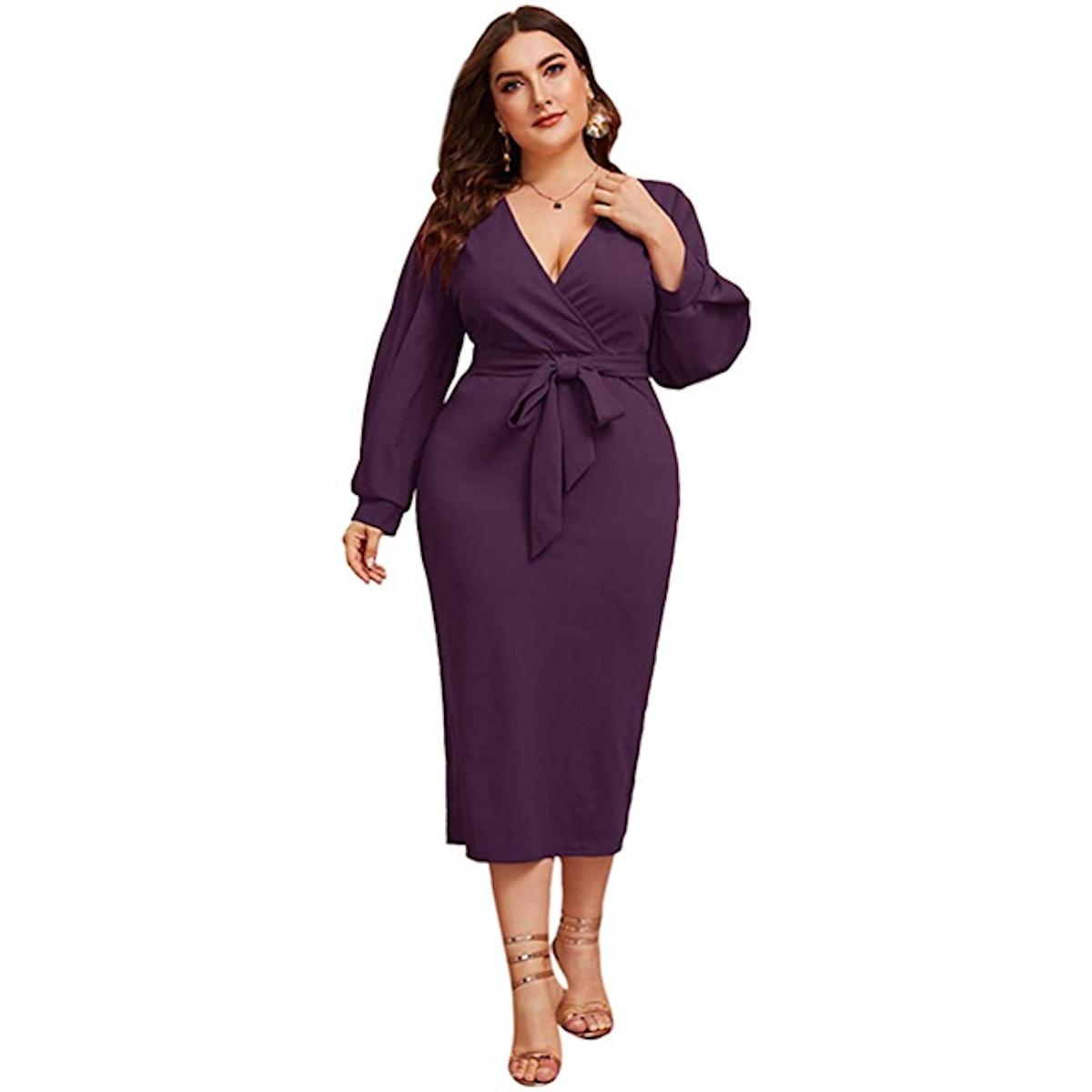 Verdusa Bishop Sleeve V Neck Belted Dress