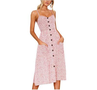 Angashion Button Down Midi Dress with Pockets