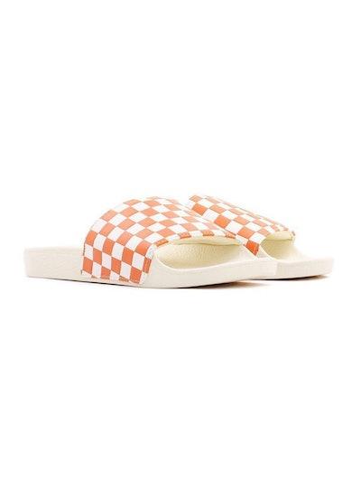 Orange & White Checkerboard Sport Slide-On Sandals