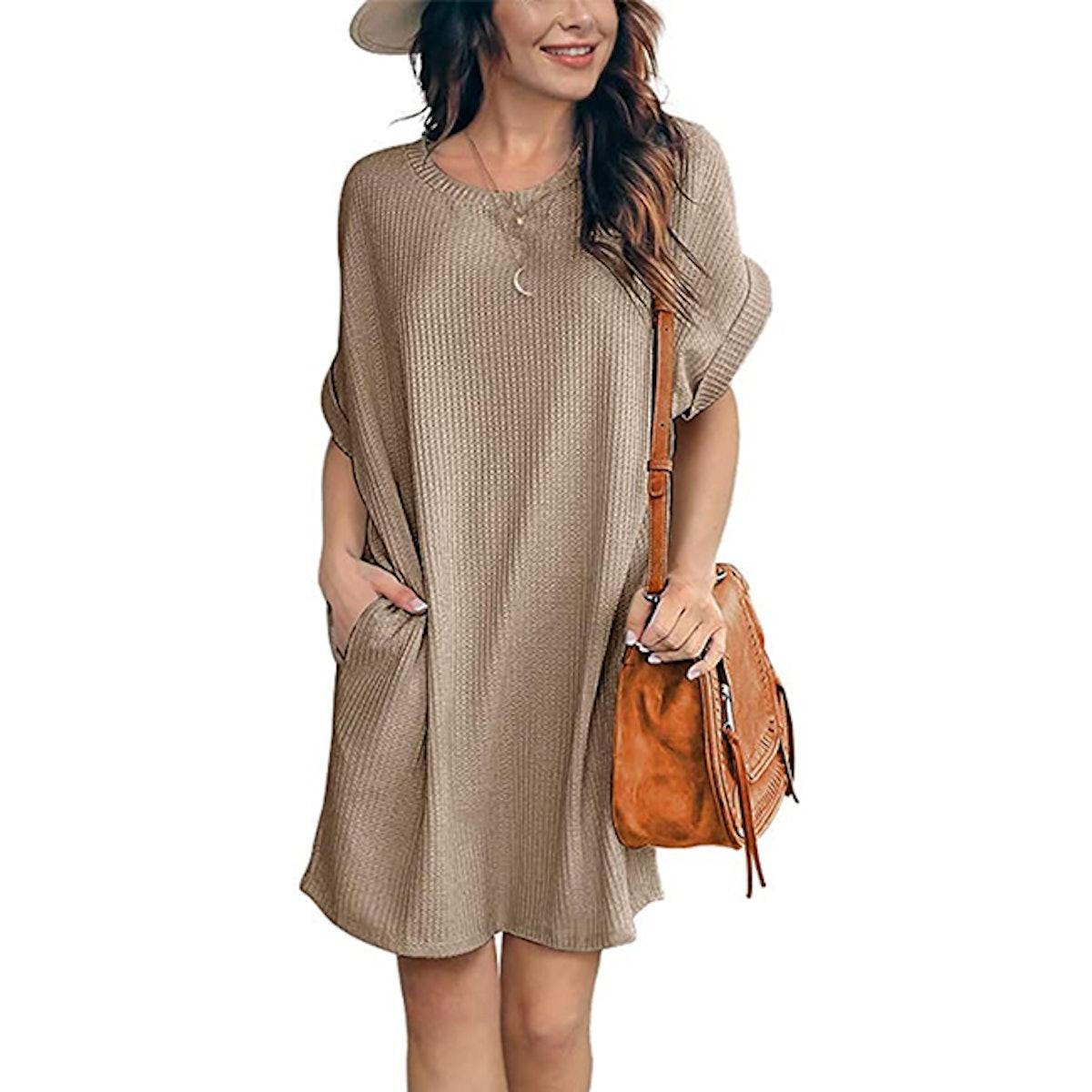 IWOLLENCE Waffle Knit Tunic Dress