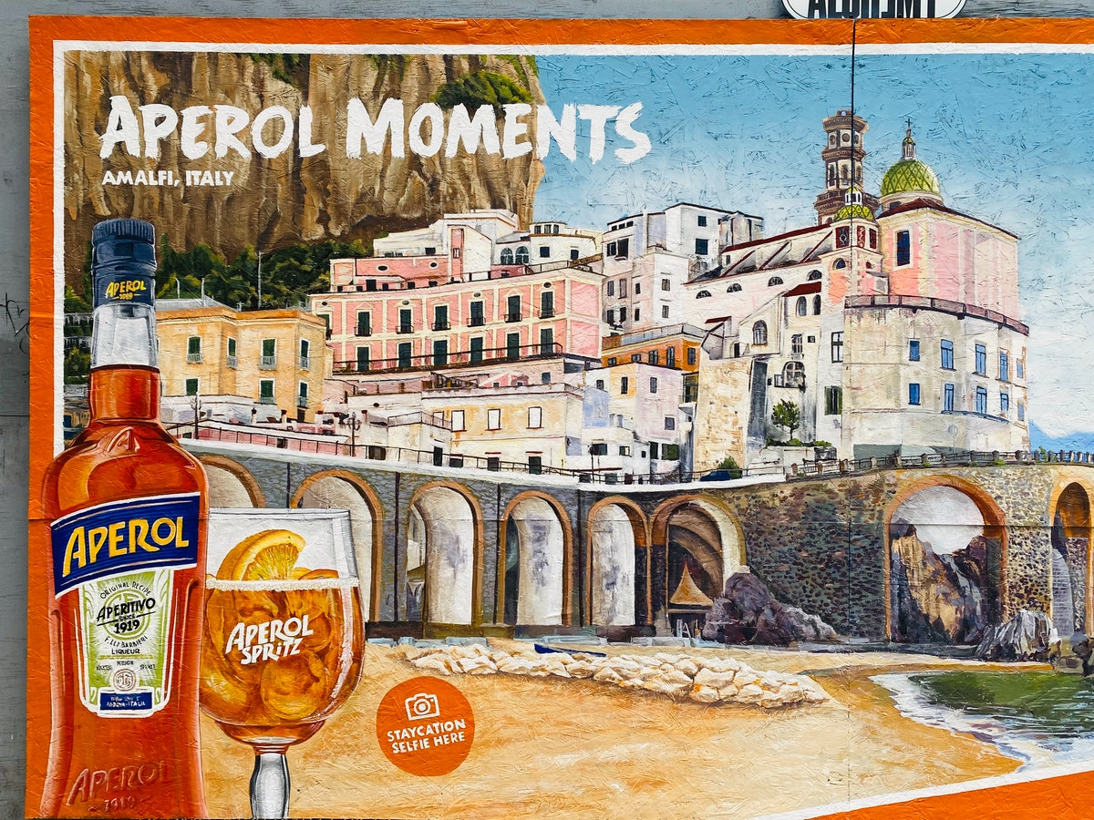 An Aperol Spritz mural is painted on a wall in Los Angeles.