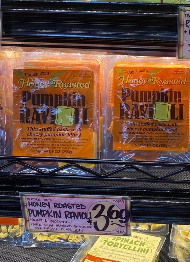 an image of packages of pumpkin ravioli.