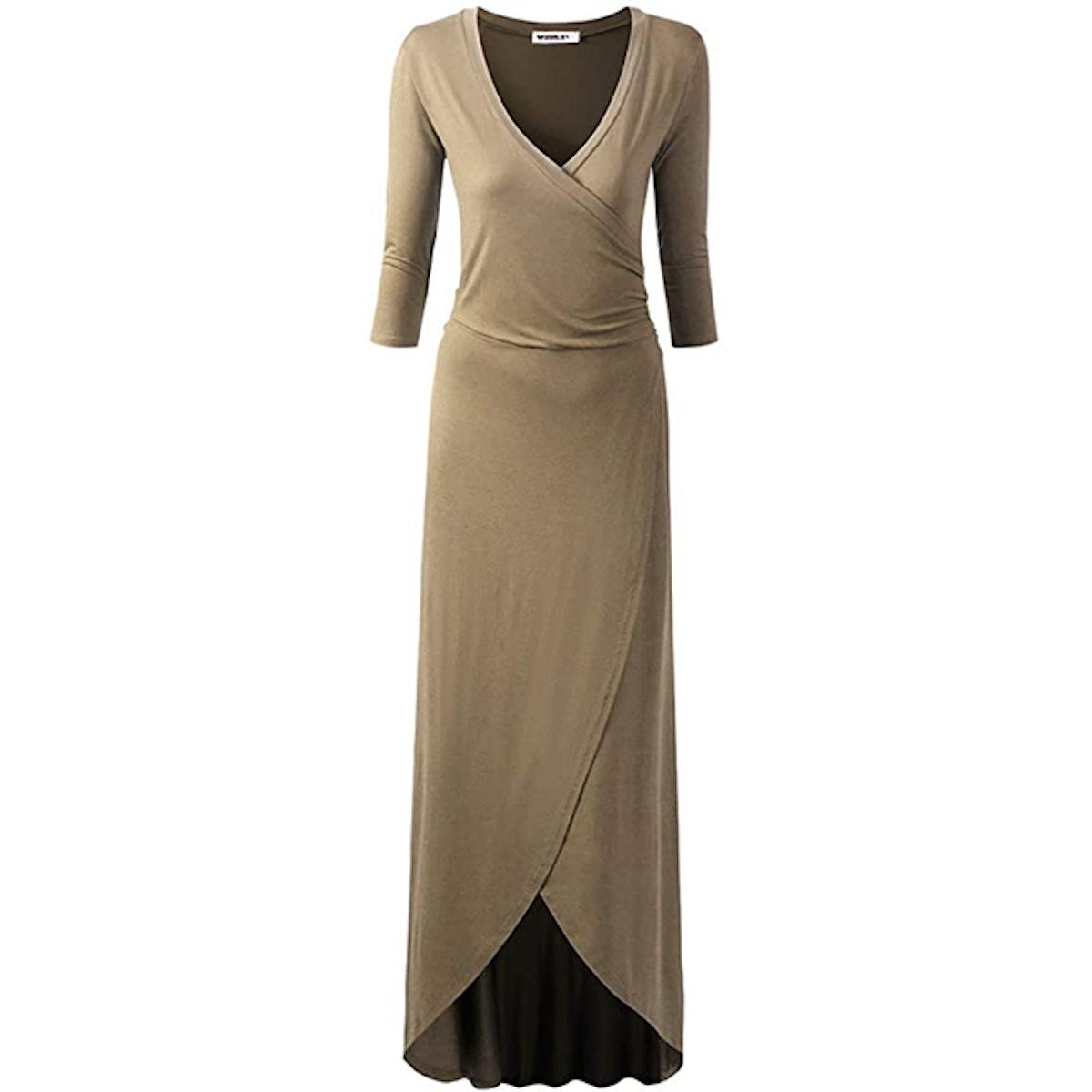 NINEXIS 3/4 Sleeve Faux Wrap Maxi Dress