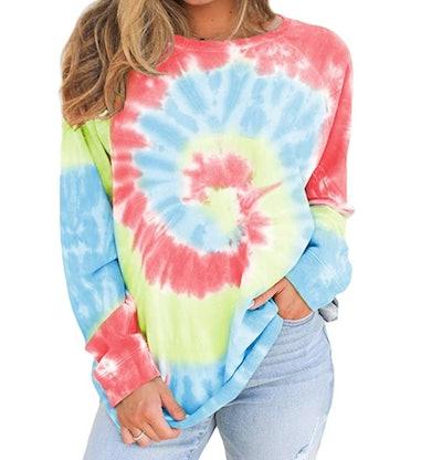 BTFBM Womens Tie Dye Print Sweatshirt