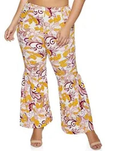 Rainbow Shops Plus Size Floral Flare Pants