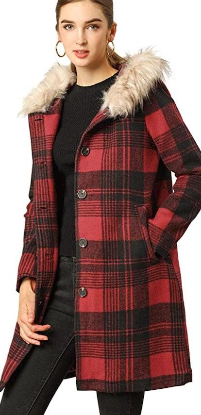 Allegra K Red Plaid Trench Coat