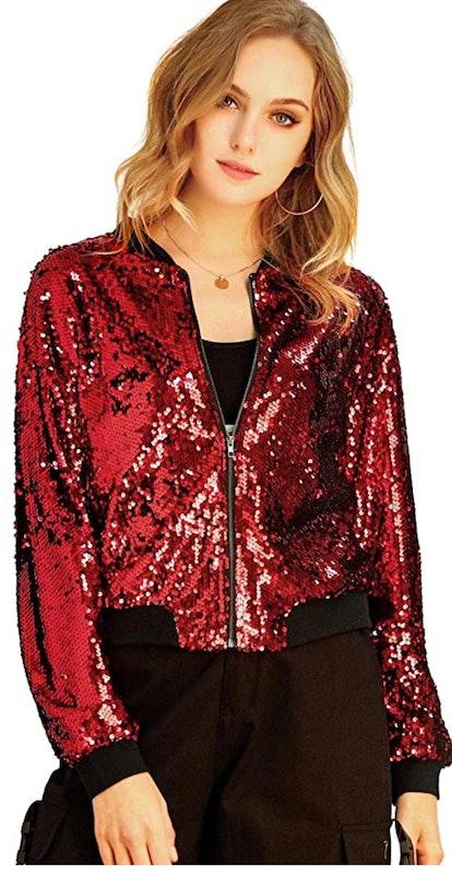 Allegra K Red Sequin Bomber Jacket