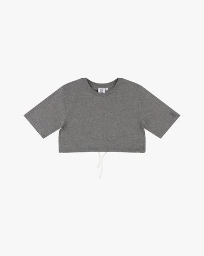 Cotton crop drawstring t-shirt grey marl
