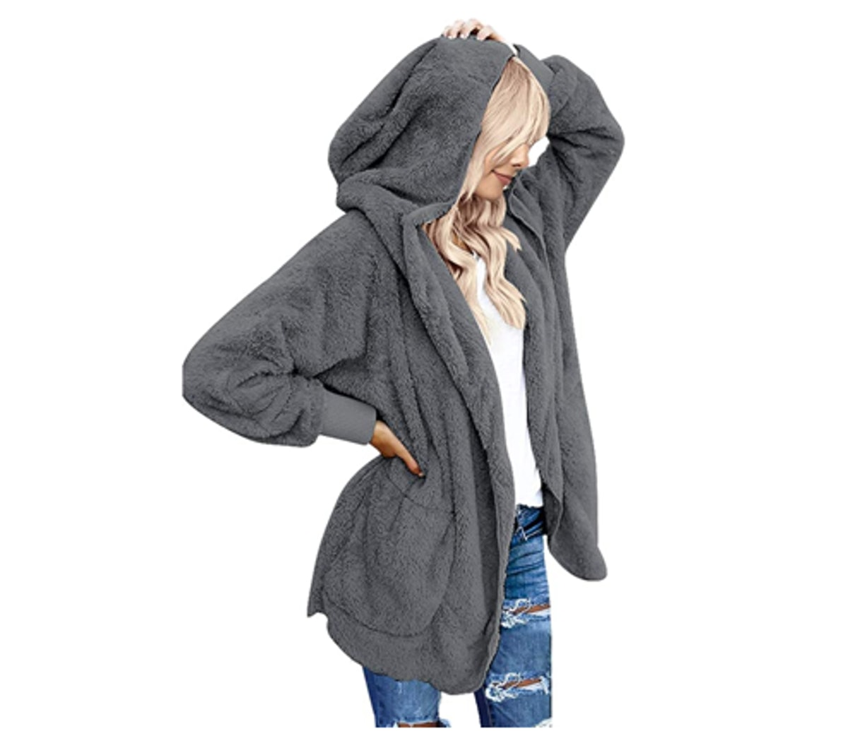 LookbookStore Fuzzy Hooded Cardigan