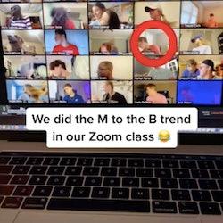 A TikTok video shows a Zoom prank on a teacher.