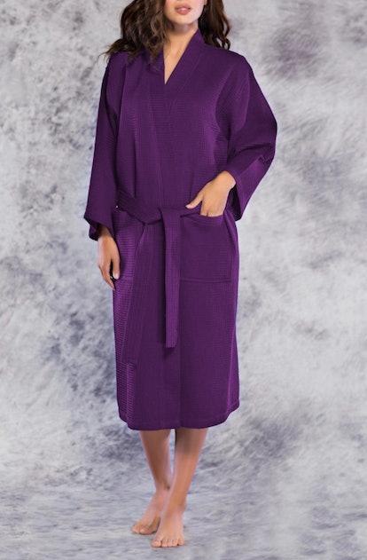 Waffle Kimono Long Purple Robe