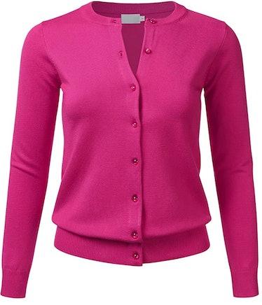 FLORIA Hot Pink Cardigan Sweater