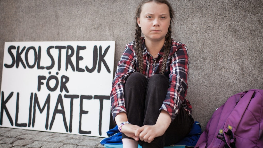 Greta Thunberg protesting.