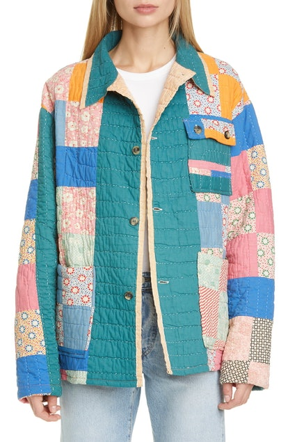 One of a Kind Reworked Quilt Floral Nine Patch Workwear Jacket