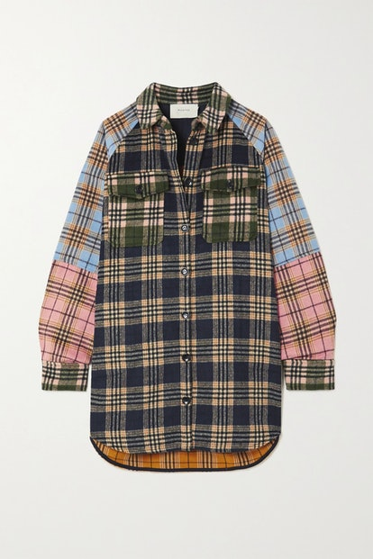 Patchwork Checked Flannel Shirt