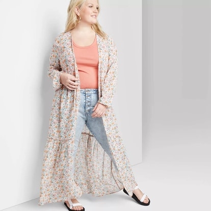 Wild Fable Women's Floral Print Long Sleeve Tiered Duster Kimono