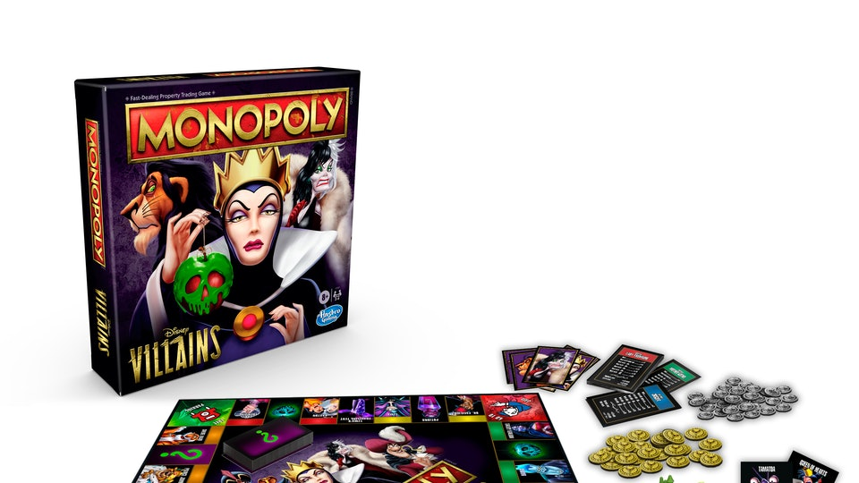 An image of a dark Monopoly set with all the pertinent Disney villains on the center and at the perimeter. Maleficent is the most largely displayed, as she is the most misunderstood.