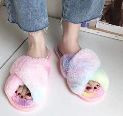 LZLER Women Furry Slippers