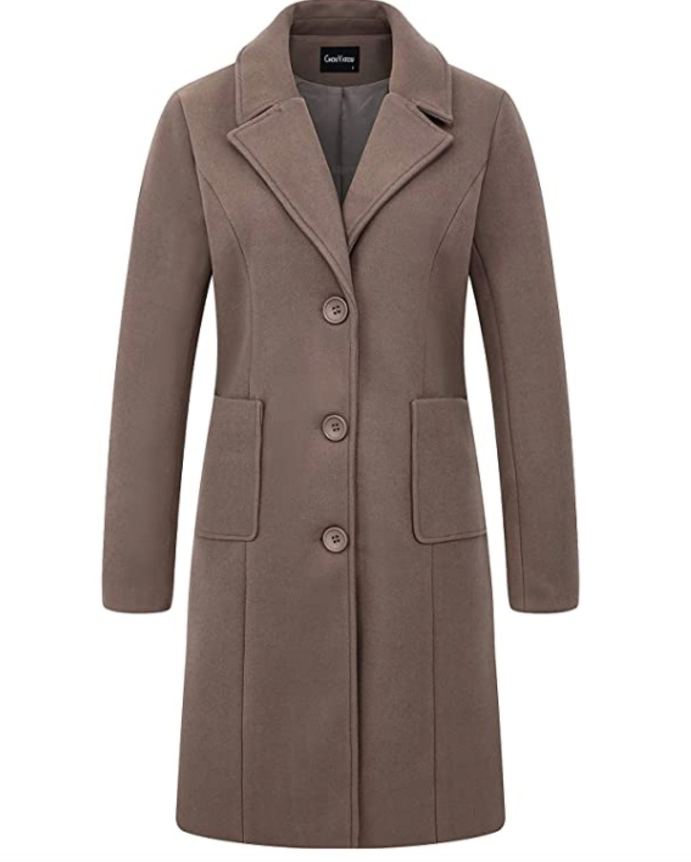 Chouyatou Notch Lapel Single Breasted Coat