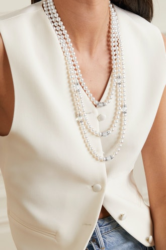 Faux Pearl and Crystal Necklace